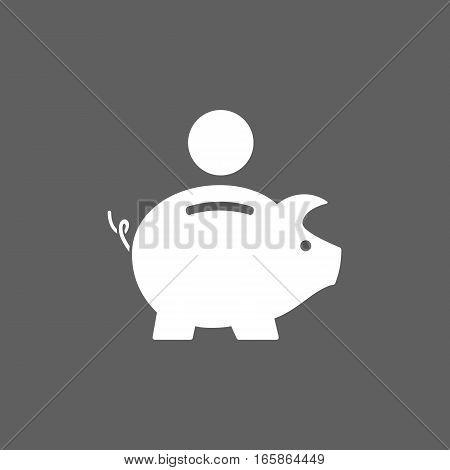 Isolated piggy bank icon on dark background