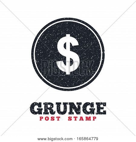 Grunge post stamp. Circle banner or label. Dollars sign icon. USD currency symbol. Money label. Dirty textured web button. Vector
