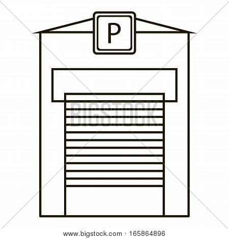 Parking garage icon. Outline illustration of parking garage vector icon for web