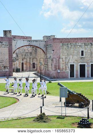 HAVANA CUBA - JULY 23 2016: San Carlos de La Cabana (Fort of Saint Charles) cannon reenactment.