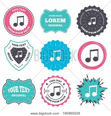 Label and badge templates. Music note sign icon. Musical symbol. Retro style banners, emblems. Vector