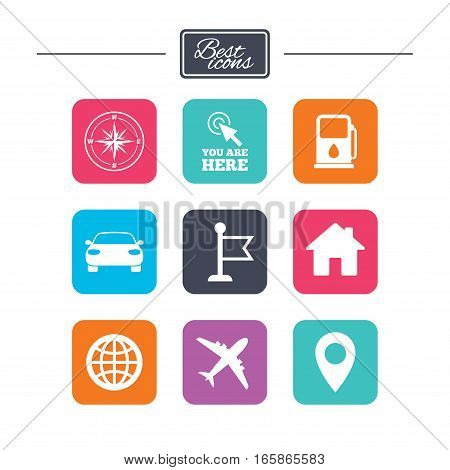 Navigation, gps icons. Windrose, compass and map pointer signs. Car, airplane and flag symbols. Colorful flat square buttons with icons. Vector