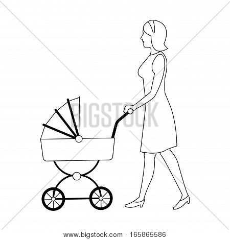 woman with a baby carriage cartoon icon over white background. vector illustration