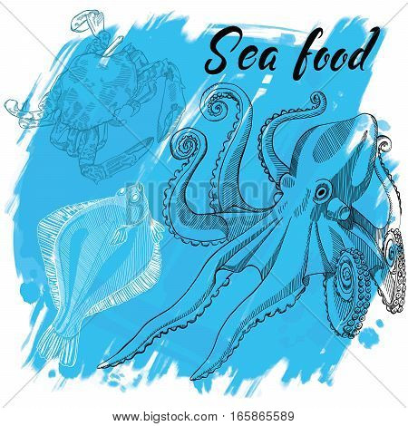 Hand drawn vector illustration, design for a seafood restaurant menu. The picture shows the octopus, flounder and crab on a blue background.