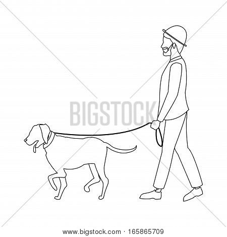 man with a dog cartoon over white background. vector illustration
