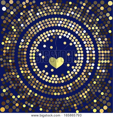 Cover design for Valentine's day. Decorative heart hanging in the center of the cards on the blue background.The depicted circles of different colors mimicking the effect of the glitter.