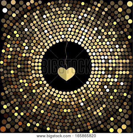 Cover design for Valentine's day. Decorative heart hanging in the center of the cards.The depicted circles of different colors mimicking the effect of the glitter.