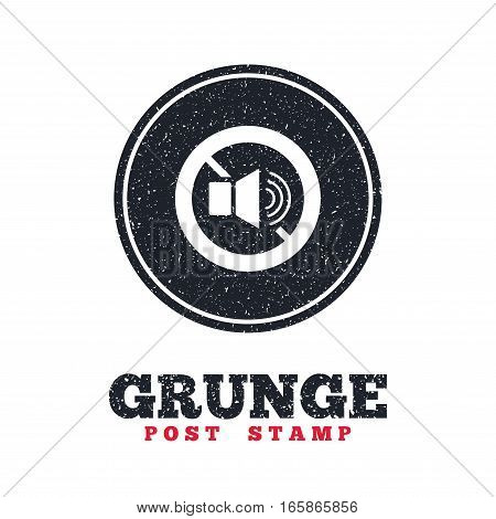 Grunge post stamp. Circle banner or label. Speaker volume sign icon. No Sound symbol. Dirty textured web button. Vector