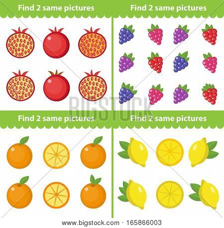 Childrens educational game. Find two same pictures. Vector illustration