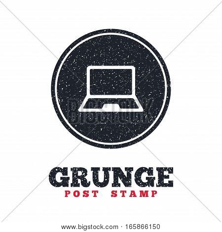 Grunge post stamp. Circle banner or label. Laptop sign icon. Notebook pc symbol. Dirty textured web button. Vector