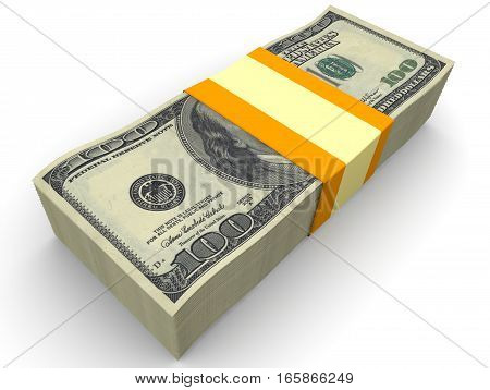 A stack of American dollars. A stack of one hundred dollar bills tied with a ribbon. Isolated. 3D Illustration