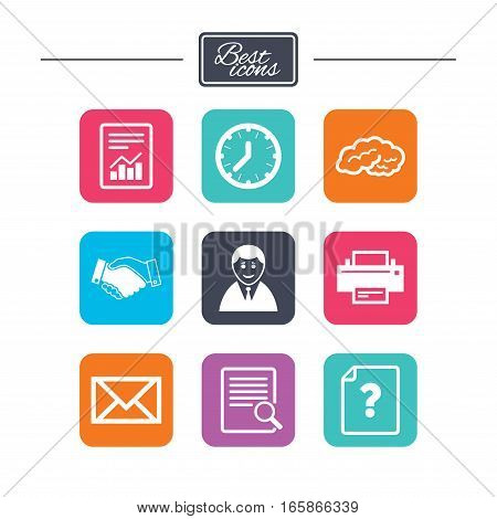 Office, documents and business icons. Deal, mail and businessman signs. Report, magnifier and brain symbols. Colorful flat square buttons with icons. Vector