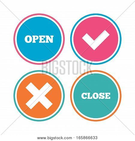 Open and Close icons. Check or Tick. Delete remove signs. Yes correct and cancel symbol. Colored circle buttons. Vector