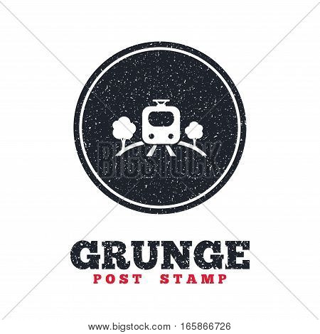 Grunge post stamp. Circle banner or label. Overground subway sign icon. Metro train symbol. Dirty textured web button. Vector