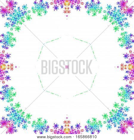 Turquoise blue and purple round square decorative frame background