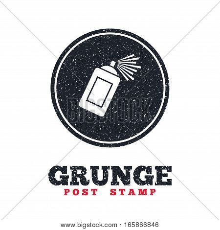 Grunge post stamp. Circle banner or label. Graffiti spray can sign icon. Aerosol paint symbol. Dirty textured web button. Vector