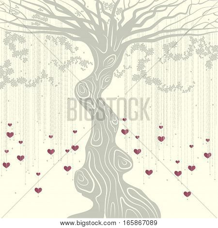 Grey tree with a curved trunk, grey petals and liana with the red decorative hearts  on  the beige background.
