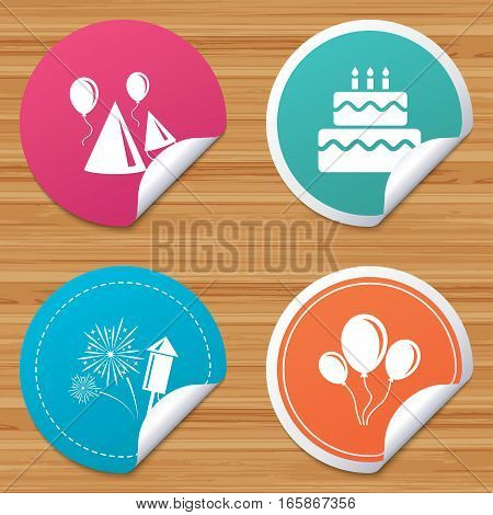 Round stickers or website banners. Birthday party icons. Cake, balloon, hat and muffin signs. Fireworks with rocket symbol. Double decker with candle. Circle badges with bended corner. Vector