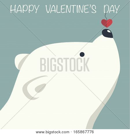 Cover design.Polar bear with decorative red heart on the blue background.In the top of the image the phrase Happy Valentine's day.