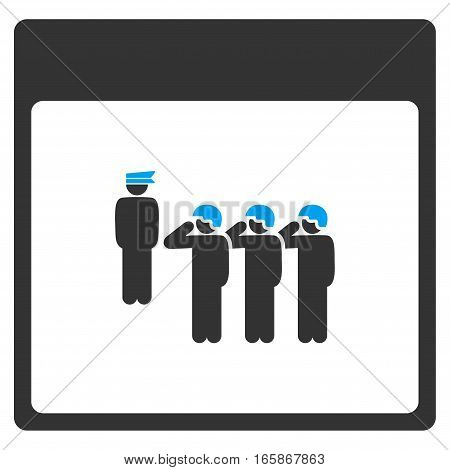 Army Squad Calendar Page vector toolbar icon. Style is bicolor flat icon symbol blue and gray colors white background.