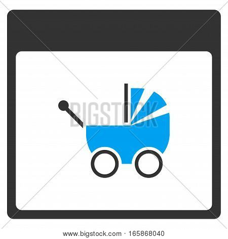 Baby Carriage Calendar Page vector toolbar icon. Style is bicolor flat icon symbol blue and gray colors white background.