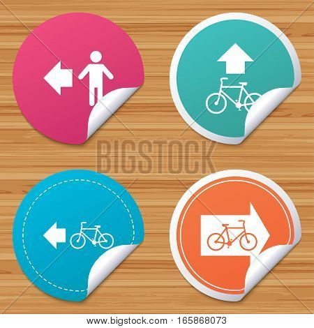 Round stickers or website banners. Pedestrian road icon. Bicycle path trail sign. Cycle path. Arrow symbol. Circle badges with bended corner. Vector