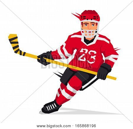 Cool hockey player with a stick in the red form. Vector illustration on white background. Sports concept.