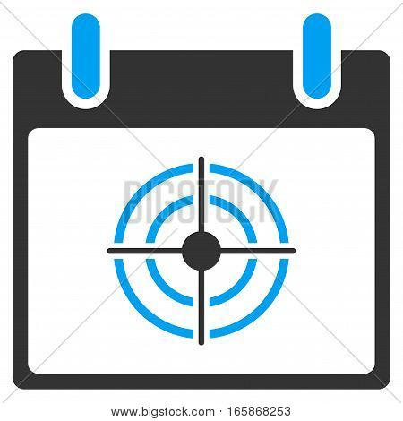 Bullseye Calendar Day vector toolbar icon. Style is bicolor flat icon symbol blue and gray colors white background.