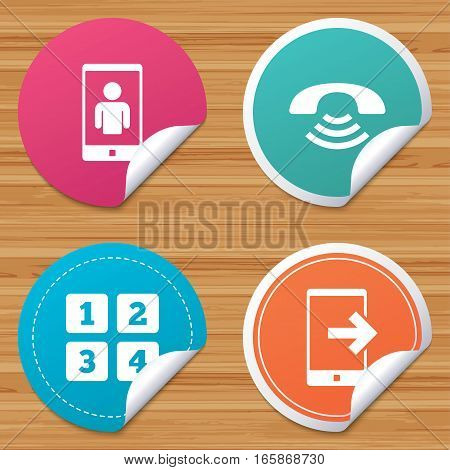 Round stickers or website banners. Phone icons. Smartphone video call sign. Call center support symbol. Cellphone keyboard symbol. Circle badges with bended corner. Vector