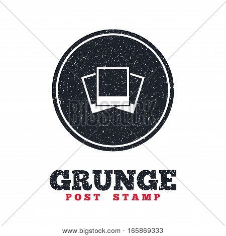 Grunge post stamp. Circle banner or label. Photo frames template sign icon. Empty photography symbol. Dirty textured web button. Vector