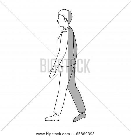 man walking cartoon icon over white background. vector illustration