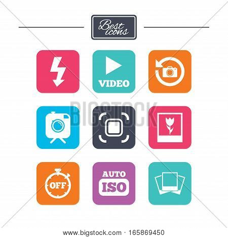 Photo, video icons. Camera, photos and frame signs. Flash, timer and macro symbols. Colorful flat square buttons with icons. Vector