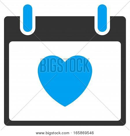 Favourite Heart Calendar Day vector toolbar icon. Style is bicolor flat icon symbol blue and gray colors white background.