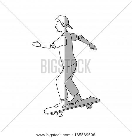 man riding skateboard cartoon icon over white background. vector illustration