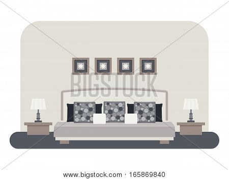 Flat style vector illustration of a bedroom interior. Bed with pillows and cushions bedside tables with lamps pictures.