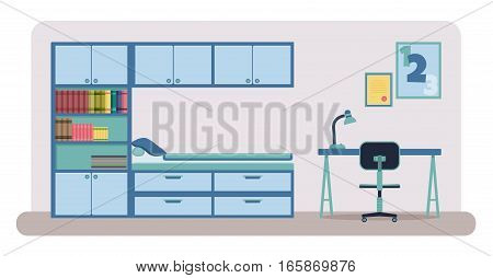 Flat style vector illustration of a bedroom interior. Child bedroom with closet bookshelves bed desk and a chair.