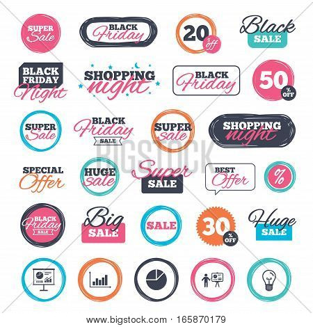 Sale shopping stickers and banners. Diagram graph Pie chart icon. Presentation billboard symbol. Supply and demand. Man standing with pointer. Website badges. Black friday. Vector
