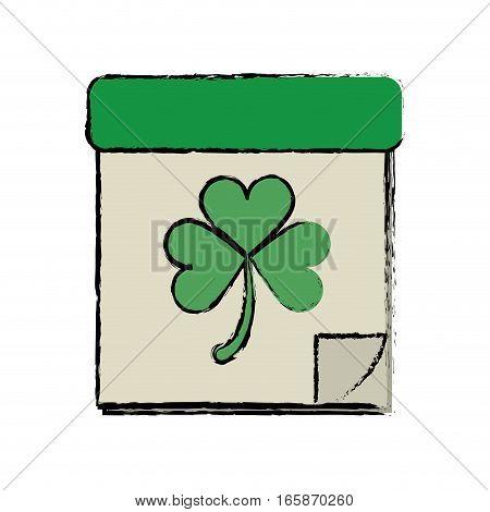 cartoon calendar clover st patrick day irish culture vector illustration eps 10