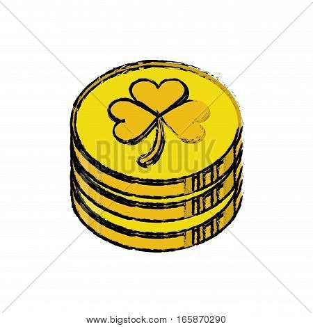 cartoon st patrick day pile coins golden sign vector illustration eps 10