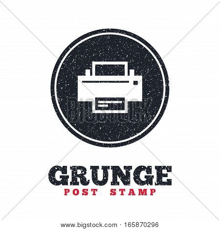 Grunge post stamp. Circle banner or label. Print sign icon. Printing symbol. Print button. Dirty textured web button. Vector