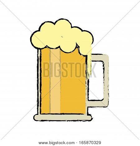 cartoon saint patrick day mug of beer foam bubbles cold vector illustration