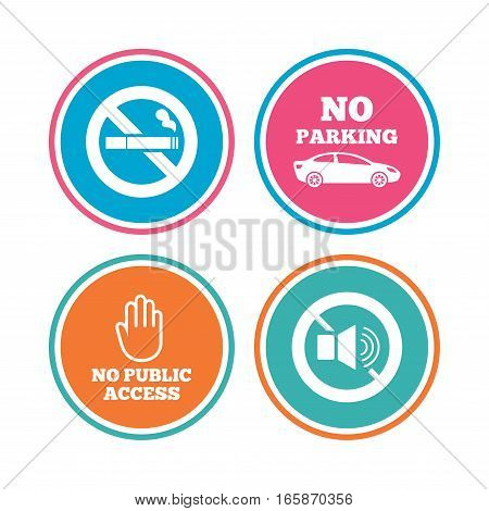Stop smoking and no sound signs. Private territory parking or public access. Cigarette and hand symbol. Colored circle buttons. Vector