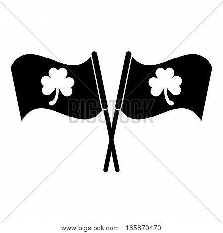 silhouette two clover flag ornate st patrick day vector illustration eps 10