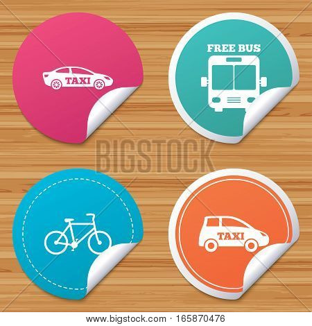 Round stickers or website banners. Public transport icons. Free bus, bicycle and taxi signs. Car transport symbol. Circle badges with bended corner. Vector