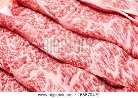 Lined Wagyu beef marbled meat in diagonally arranged
