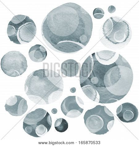 Modern background of gray and black transparent bubbles painted in watercolor. Abstract monochrome pattern with ink circles and dots. Texture for surface design scrapbooking wrapping paper