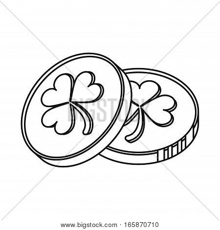 st patrick day coins sign outline vector illustration eps 10