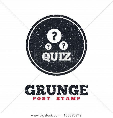 Grunge post stamp. Circle banner or label. Quiz with question marks sign icon. Questions and answers game symbol. Dirty textured web button. Vector