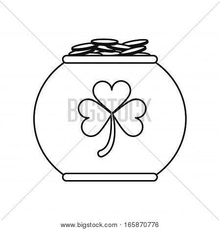 pot full coins shamrock decoration celebration st patrick day outline vector illustration eps 10