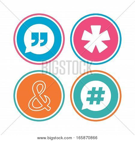 Quote, asterisk footnote icons. Hashtag social media and ampersand symbols. Programming logical operator AND sign. Speech bubble. Colored circle buttons. Vector